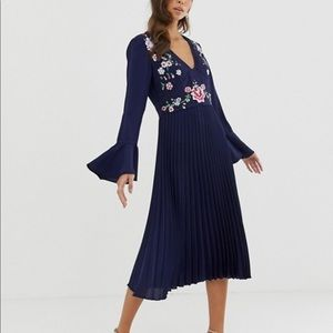 ASOS Navy Blue Embroidered Pleated Dress